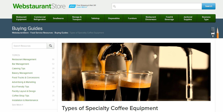 The WebstaurantStore website