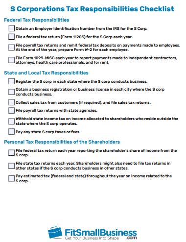 S Corporations Tax Responsibilities Checklist