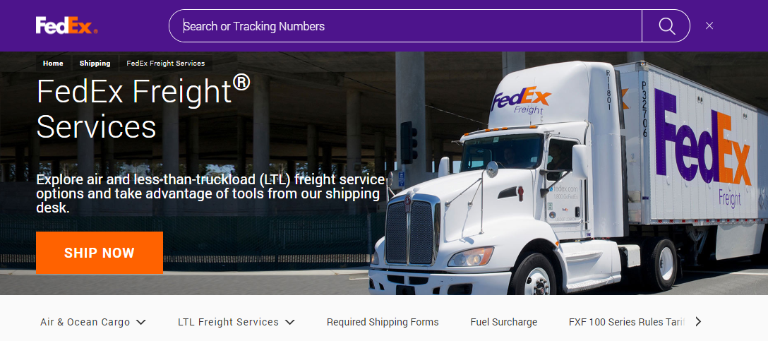 FedEx homepage showing a delivery truck