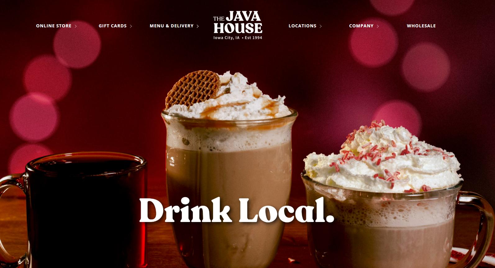 Screenshot of The Java House homepage