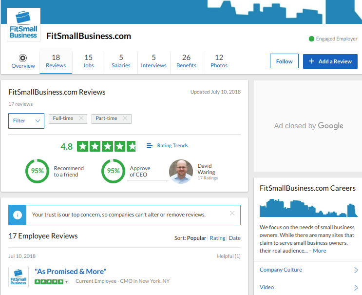 Fit Small Business' company page on Glassdoor