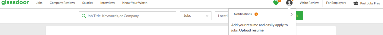 glassdoor Job page with search bar