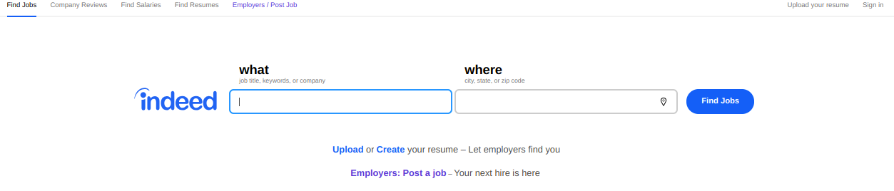 indeed find job page with search bar