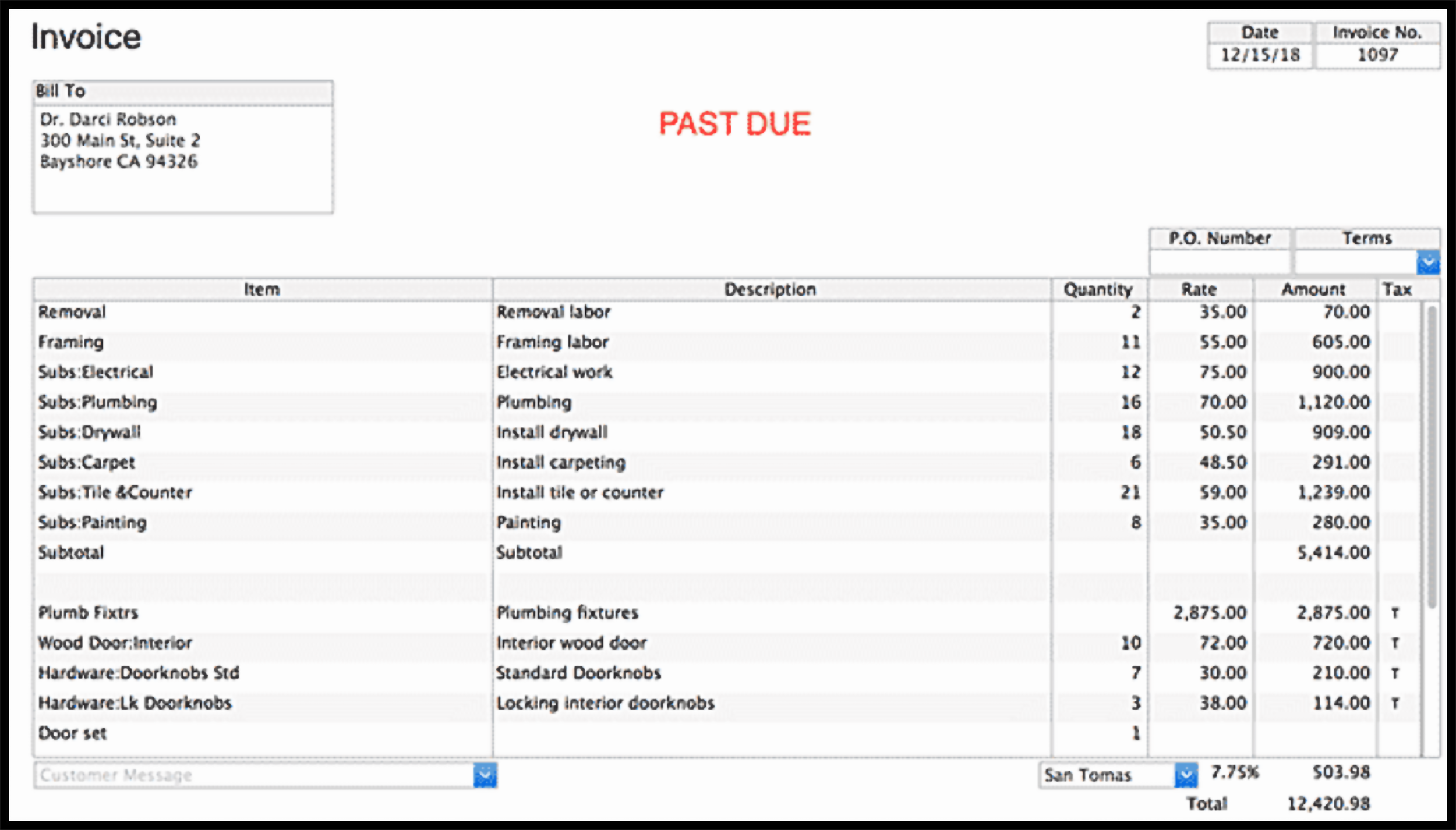 Past Due stamp on invoices in QuickBooks for Mac 2020