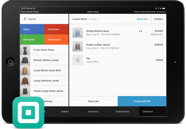 Square POS in Tablet