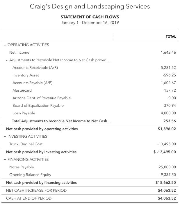 Statement of Cash Flows from QuickBooks Online