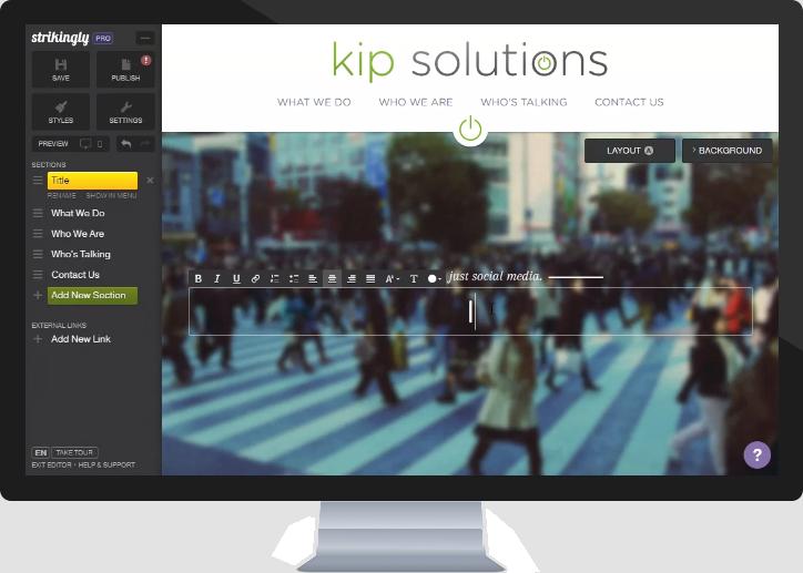 strikingly website editor in desktop view