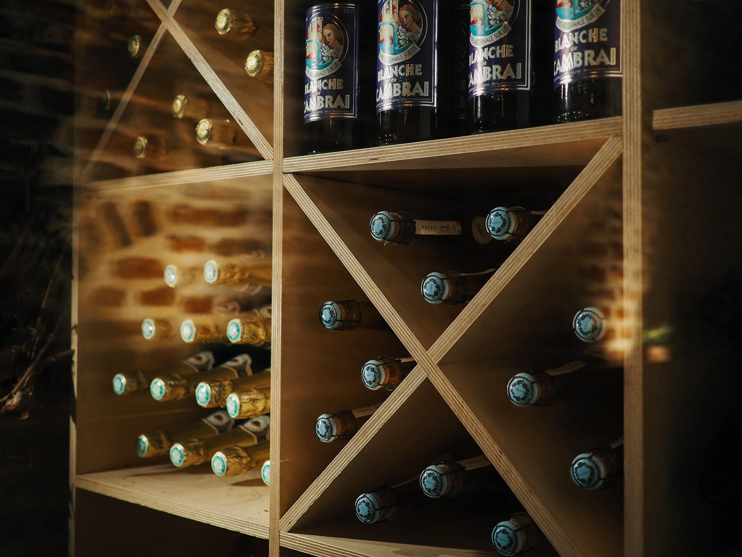Bottles of liquor in the divider