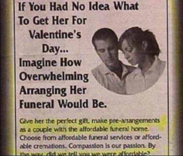 Advertisement for a Funeral Arrangement