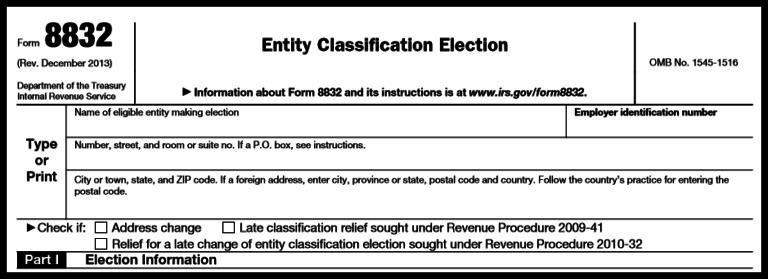Form 8832: Basic Business Information