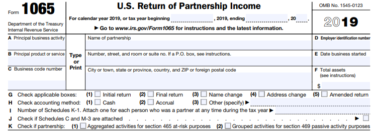General information section of Form 1065, U.S. Return of Partnership Income