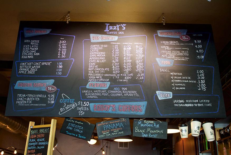 Screenshot of Menu boards for Izzy's Coffee Den