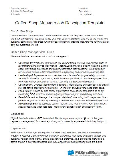 Coffee Shop Manager Job Description Template