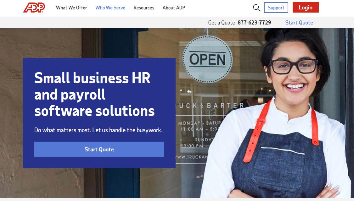 ADP Homepage website
