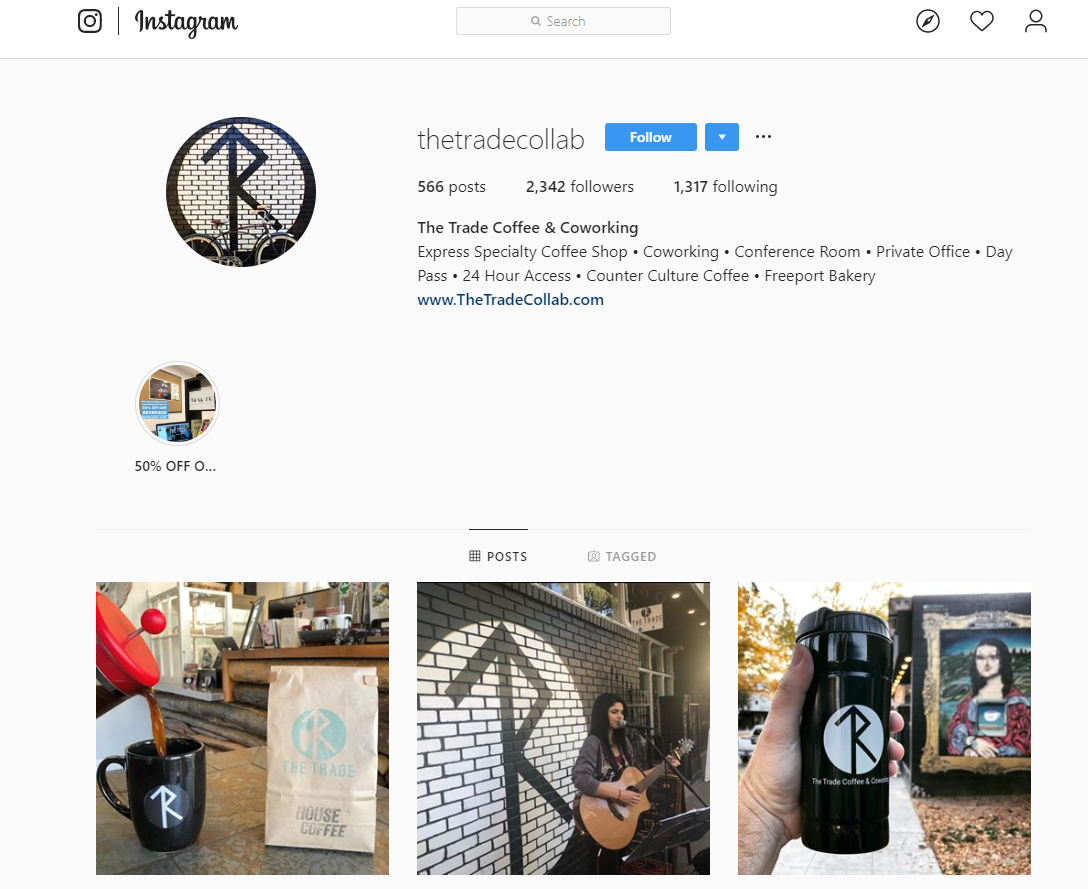 Trade Coffee & Coworking Instagram Account