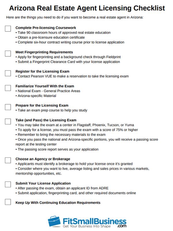 Arizona Real Estate Agent Licensing Checklist