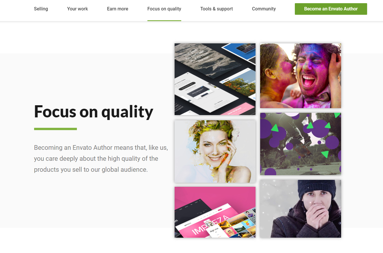 Evanto Focus on Quality page