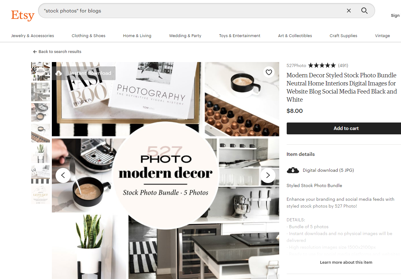 Modern decor stock photo bundle by Etsy seller Heather from 527Photo