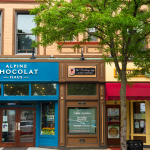 Blue Chocolate Store, Brown Makeup store and Cupcake store