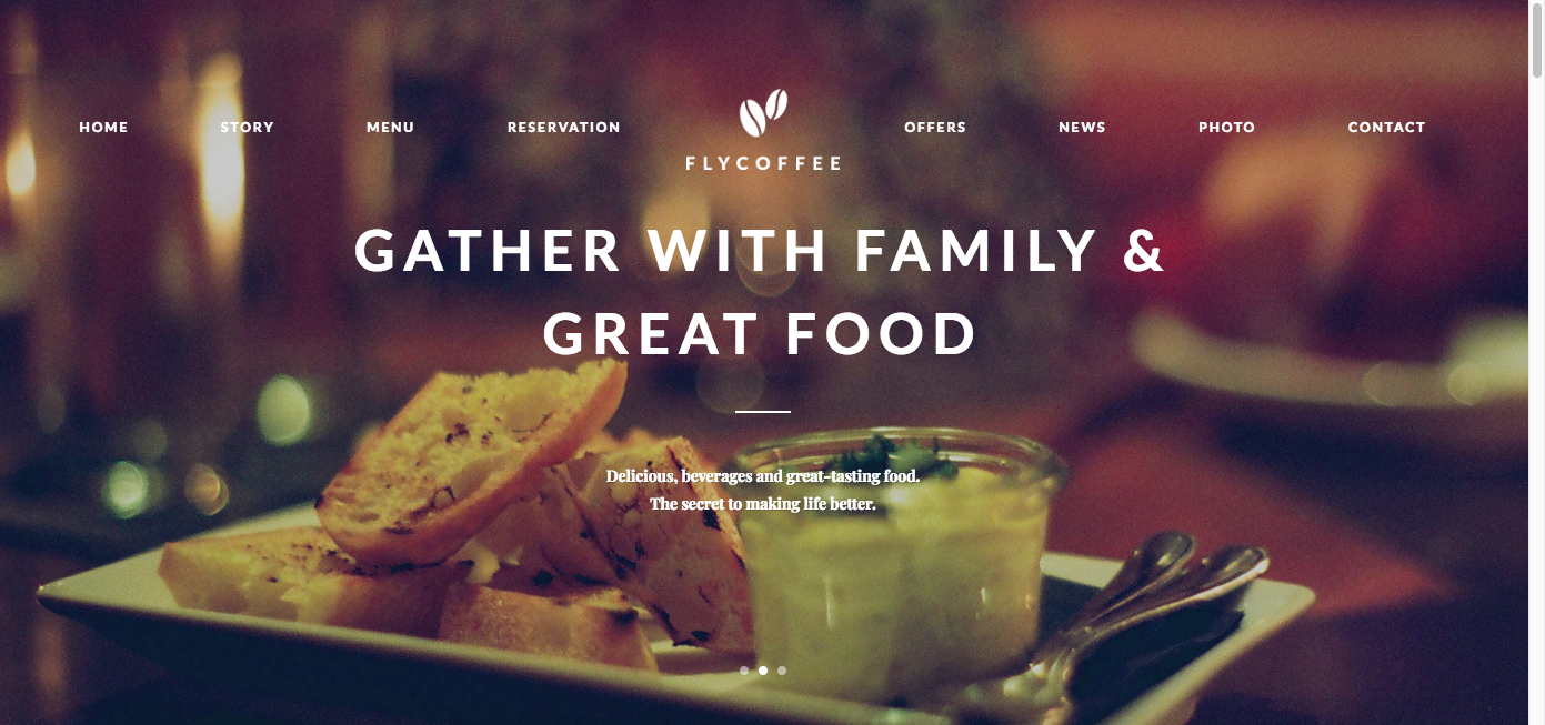 FlyCoffee WordPress theme Homepage screenshot