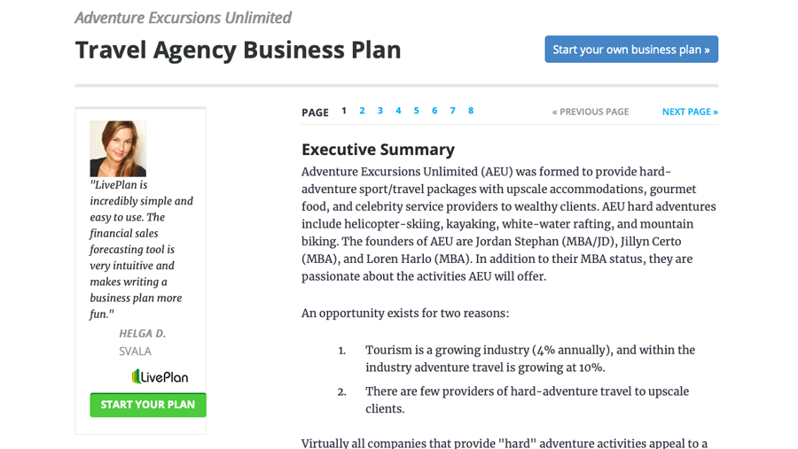 how to start a travel agency from home - Sample of a travel agency specific business plan from LivePlan