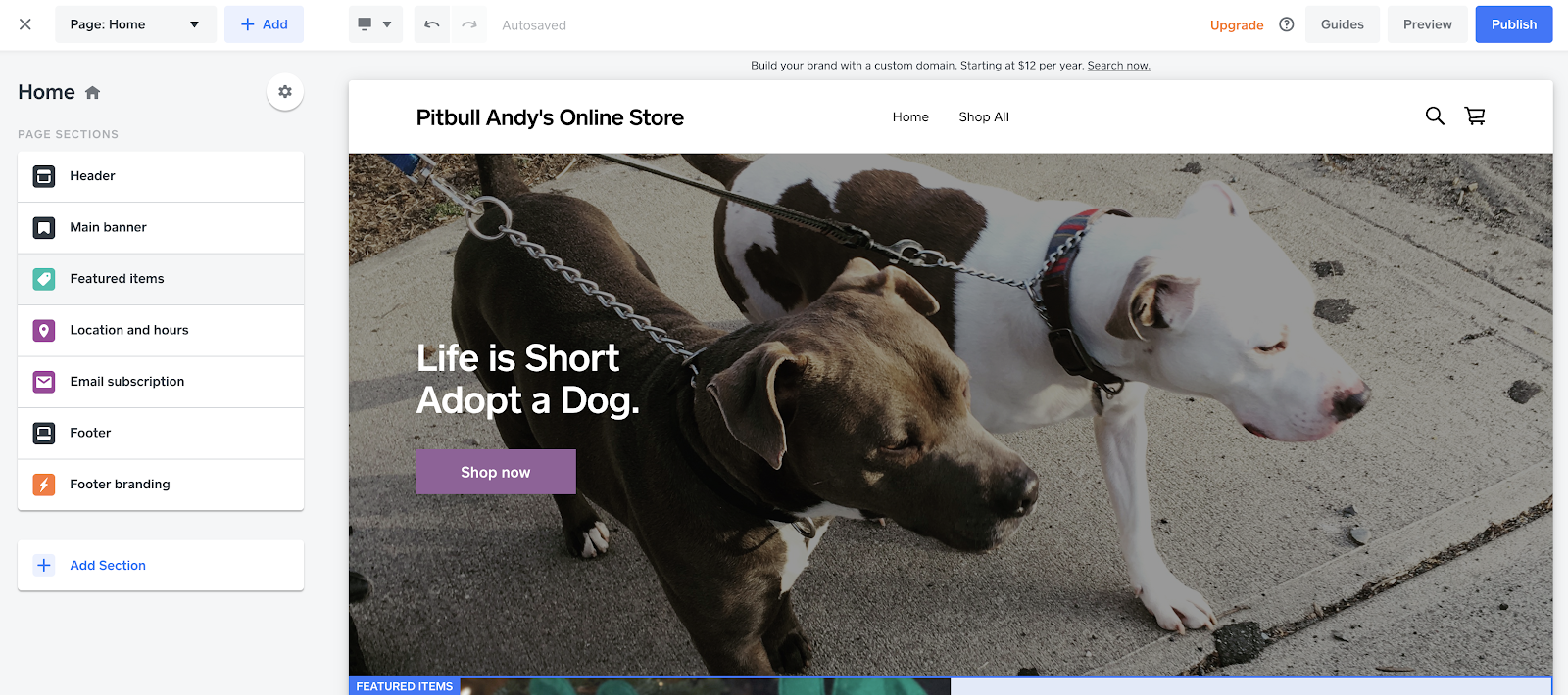 Square Online Store with pitbulls