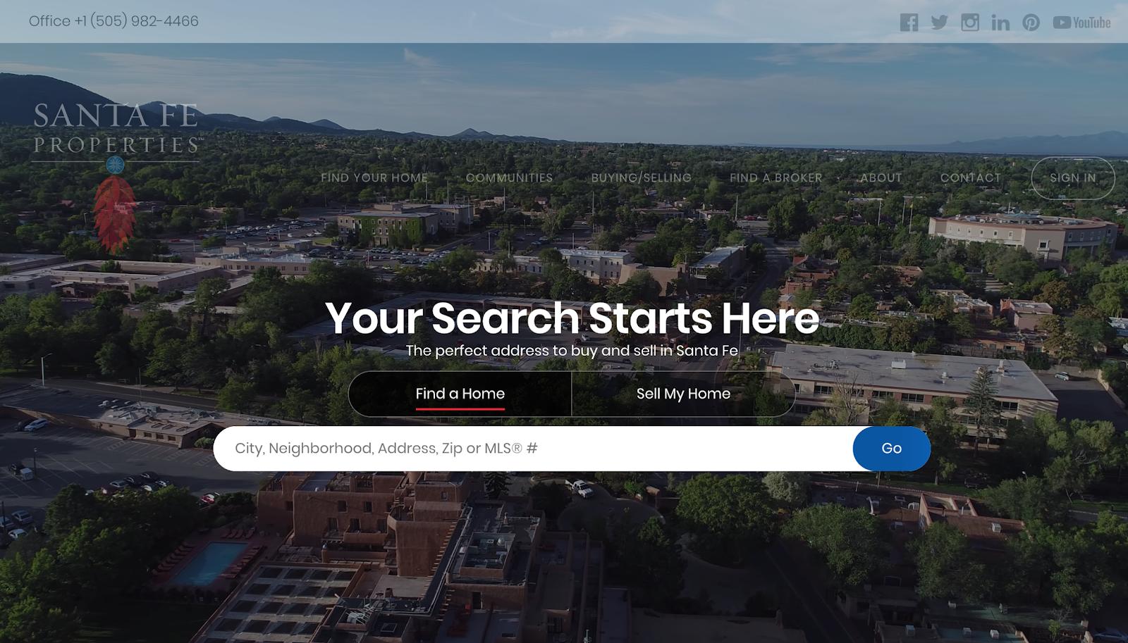 Santa Fe Properties landing page