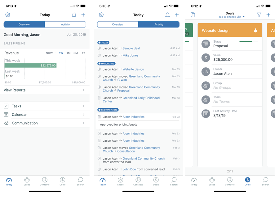 What is a CRM - Screenshot of Mobile CRM interface from Zendesk Sell