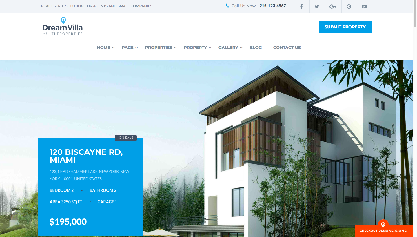 Dreamvilla WordPress theme for real estate screenshot