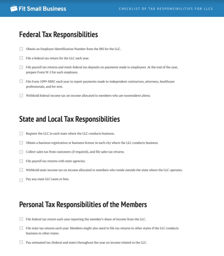 Checklist LLC Tax Responsibilities