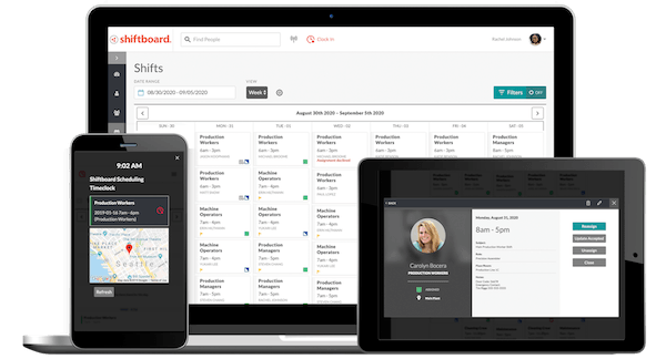 shiftboard on tablet, desktop and mobile