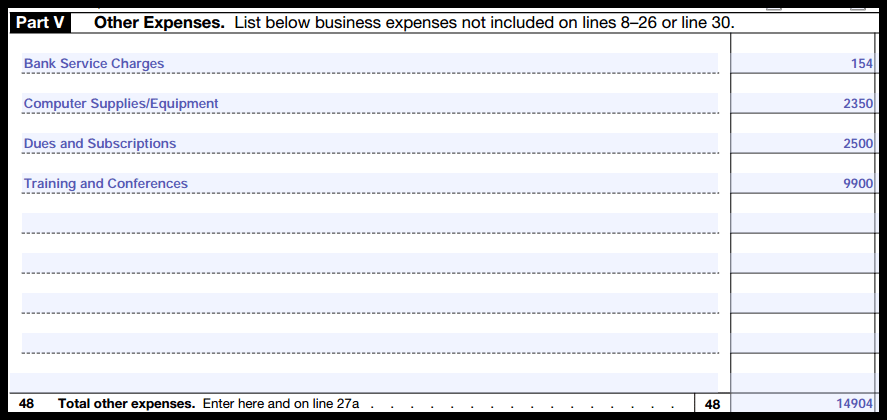 Part 5 other expenses section