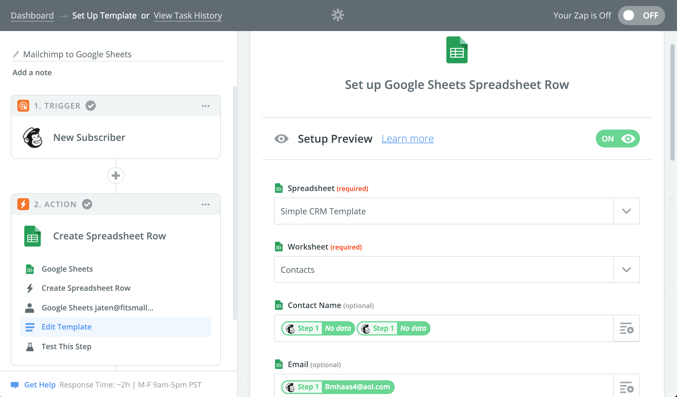 Mailchimp to Google Sheets integration with Zapier