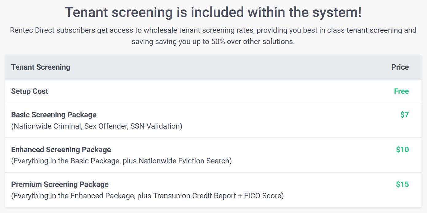 Rentec Direct Screening