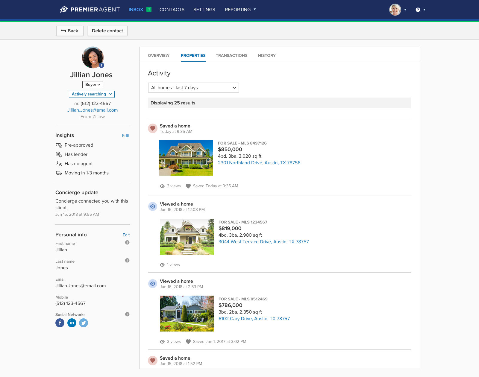 Zillow Premier Agent's easy to navigate CRM