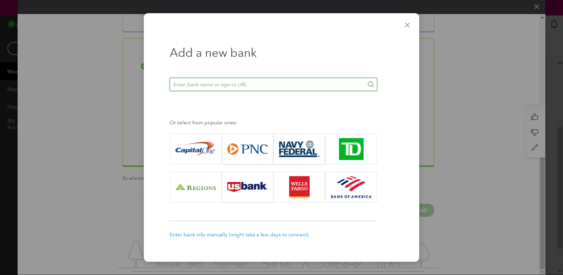 Add a bank feature in QuickBooks Payroll