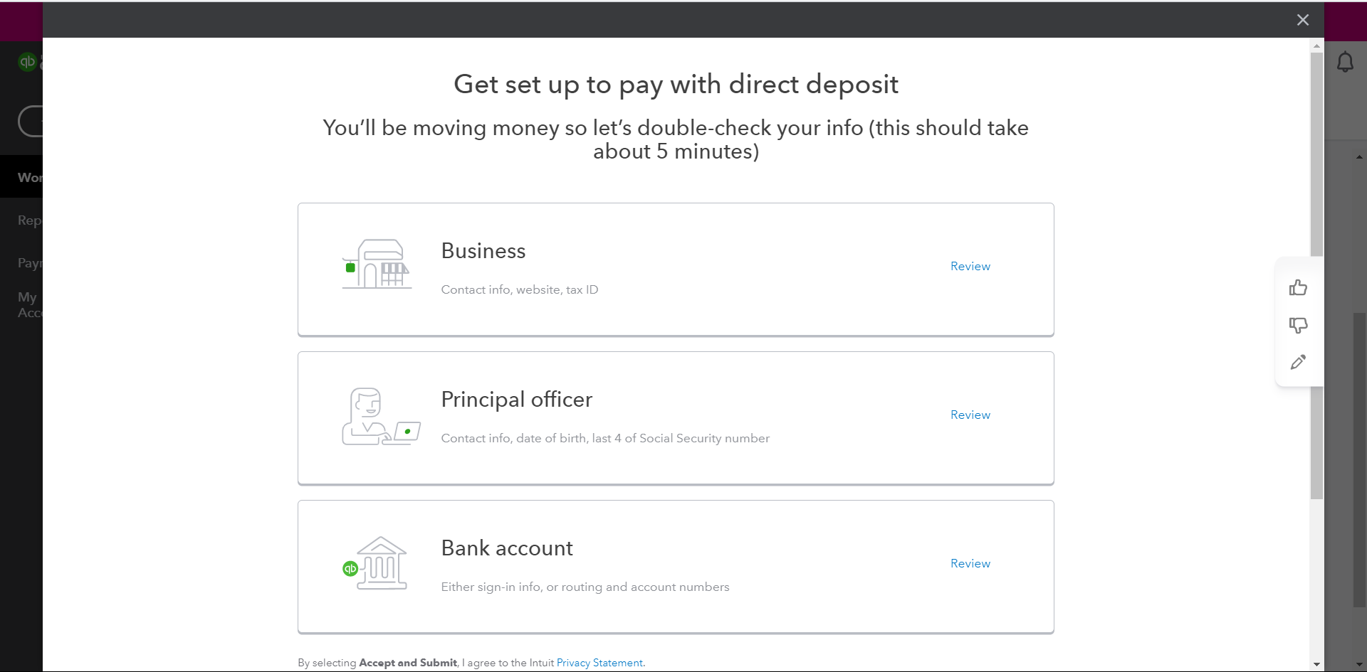 Review your banking information to these three options