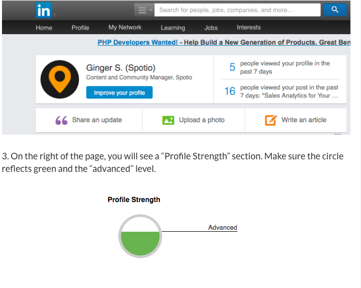 LinkedIn How to find your profile strength level