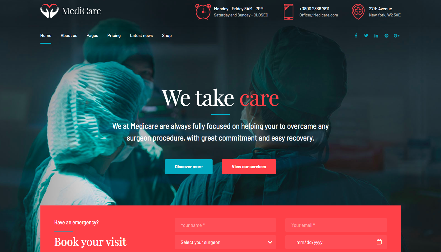 MediCare WordPress theme screenshot
