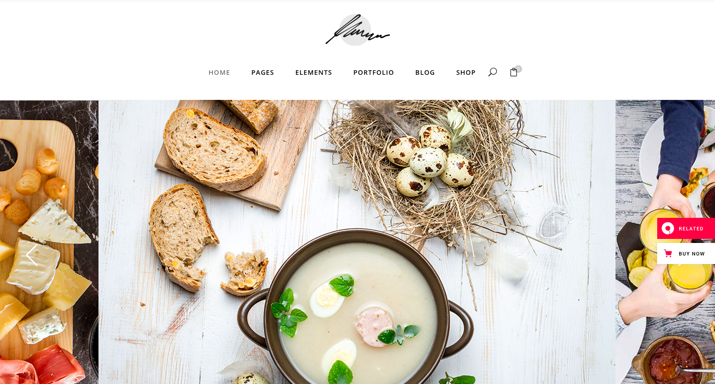 Savory restaurant WordPress theme homepage screenshot