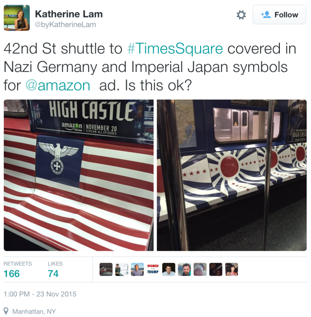 Katherine Lam's twit Nazi Germany and Imperial Japan symbols on 42nd St shuttle for an Amazon ad