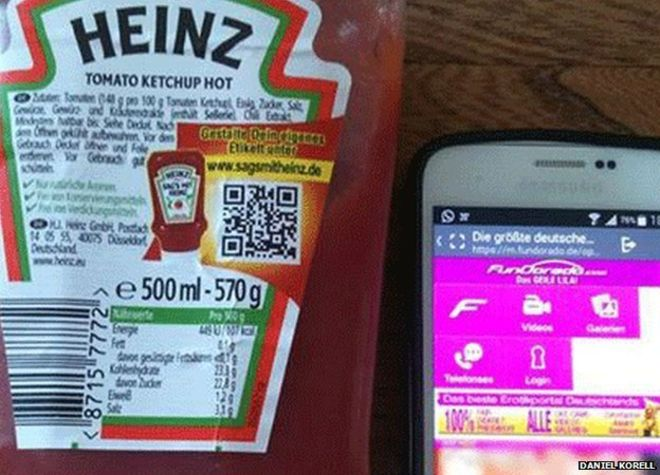 Heinz ketchup bottle and a smartphone