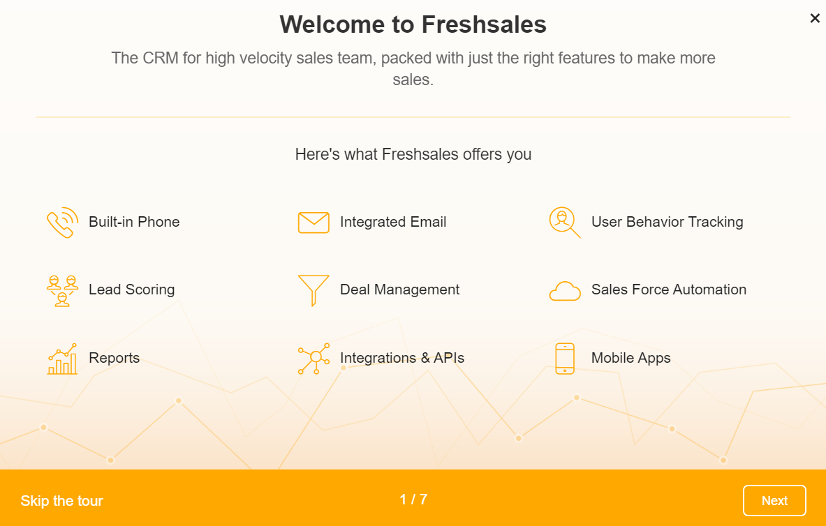 Freshsales Welcome page