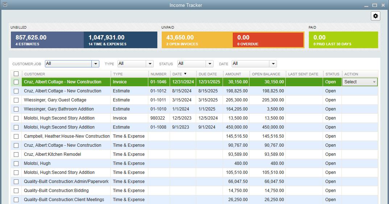 Quickbooks income tracker
