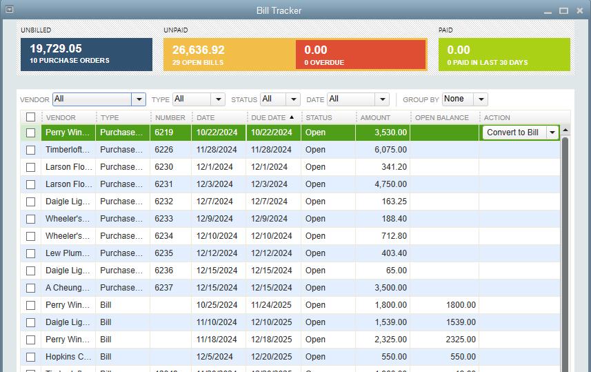 QuickBooks Premier Bill Tracker