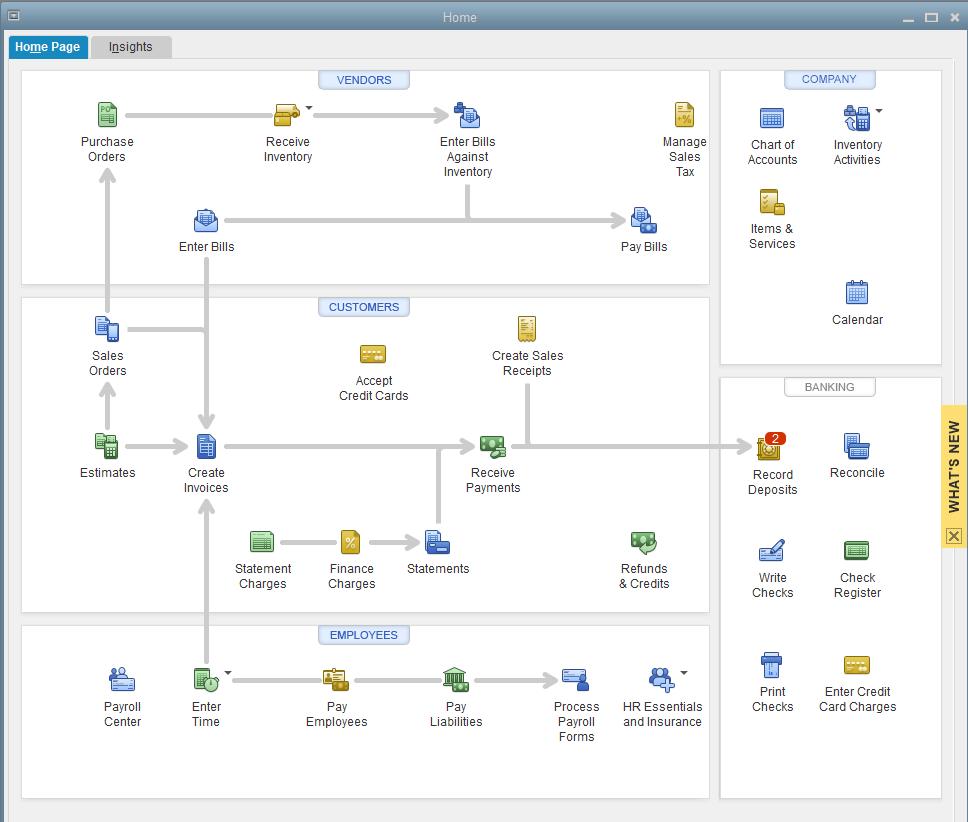 Quickbooks Premier Home Page Workflow Navigation