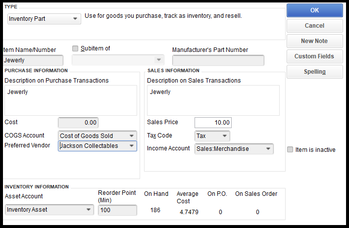 QuickBooks Retail Edition Inventory Item