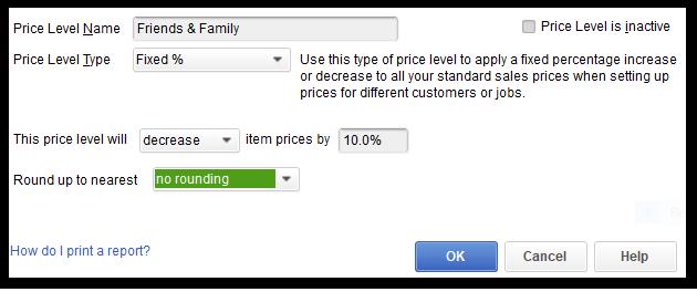 QuickBooks Professional Services Special Price Level