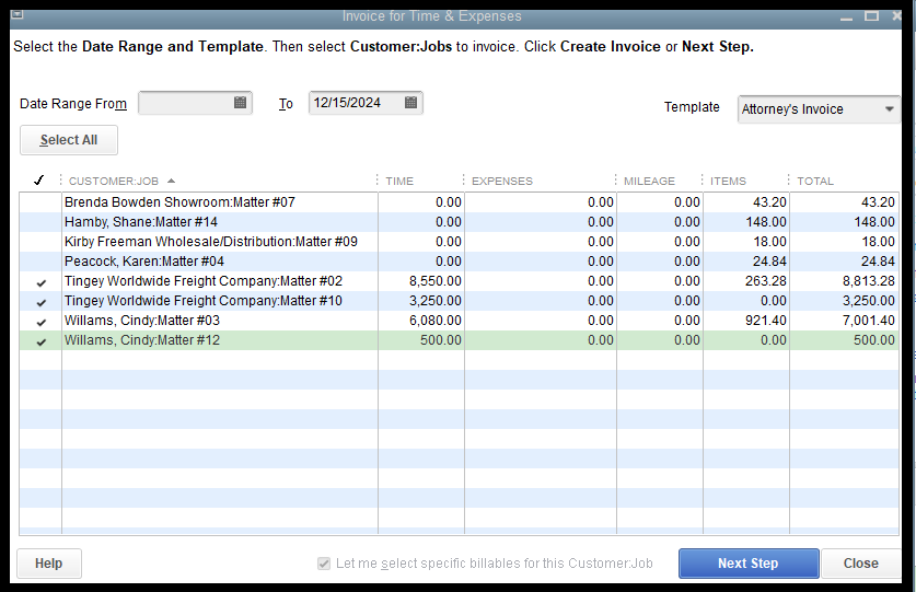 QuickBooks Professional Services Invoice for Time and Expenses