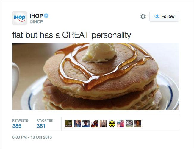 IHOP's twit showing stack pancakes with syrup and butter